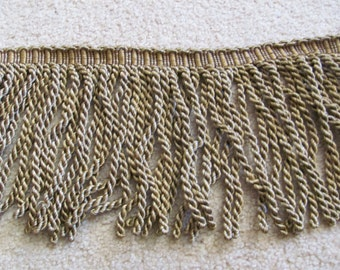 "Heavy Thick Brown Dark Gold Bullion Fringe Upholstery Trim  - 8"" Inch Long - By The Yard (02)"