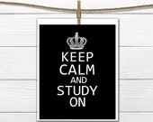 Keep Calm and Study On Dorm Decor  Custom Colors