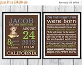 ONSALE Birth Announcement Set  -  Monkey Nursery - Birth Info Print