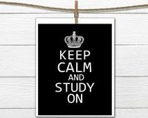 Keep Calm and Study On Dorm Decor  Custom Colors