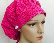 Bouffant Scrub Hat with ties - Pink Cheetah scrub hat - Pink Leopard Pattern Bouffant scrub hat - Ponytail Scrub hat