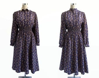 Vintage Dress - 80's Midi Dress - Floral Dress - Detachable Collar Shirt Dress - Alexon Dress