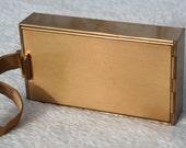 FREE SHIPPING Vintage Gold Tone 1940s Parklane Vanity Compact Carry Case Cigarette Case Vanity Case Combination