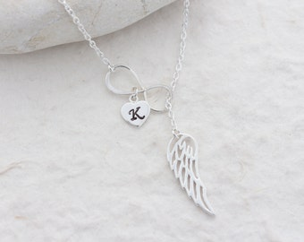 Angel Wing charm, Infinity Necklace, Wing Necklace, Custom charm Included, Protection, Sterling silver Wing & infinity, wing Jewelry