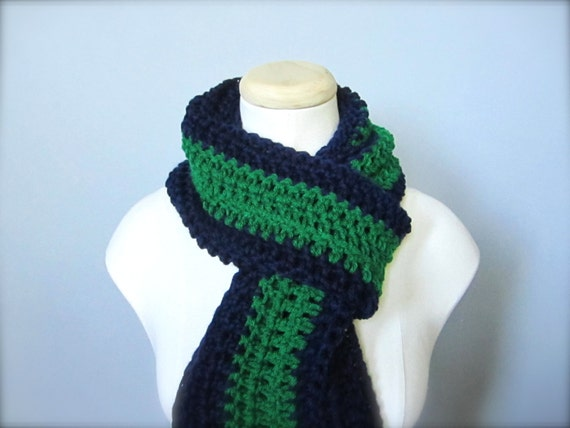 Crochet Navy Blue, Kelly/Emerald Green NHL/NFL Hockey, Football, Soccer, Notre Dame Fighting Irish Infinity Scarf, Men's Scarf, Unisex Scarf