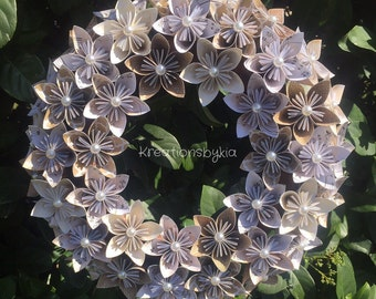 NEUTRALS // Origami Paper Flower Wreath / wedding decorations, origami, kusudama, paper wreath, sheet music, paper flowers, paper bouquet