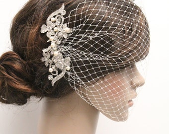 Wedding Fascinators,Wedding hair accessories,Wedding hair jewelry,Bridal birdcage veil,Wedding veil,Bridal headpiece,Bird cage veil,Wedding