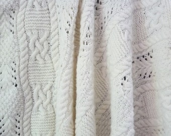 KNITTED BABY BLANKET, cream colored blanket, baby blanket, baby afghan