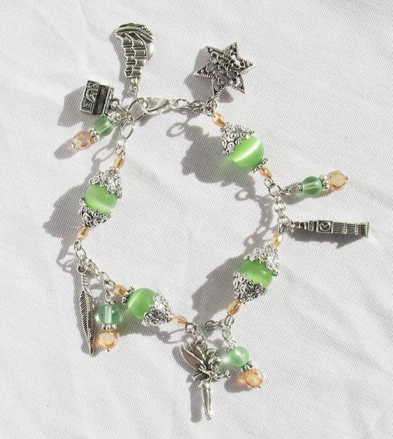 Tinkerbell Charm Bracelet: Tinker Bell Charm Bracelet Peter Pan Charm Bracelet Vintage