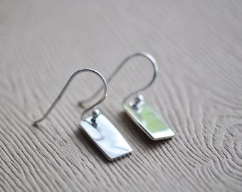 Silver Rectangle Earrings - Silver Bar Earrings - Minimalist Earrings - Modern Earrings - Dangle Earrings