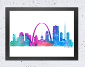 St. Louis Skyline Watercolor print, St. Louis Cityscape color print, Textured Blue Green Pink Red Orange, Modern Home Wall Office Decor, DIY