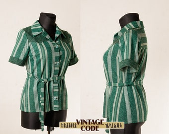 Green Knit Vertycally striped 70s jacket blouse / Green short sleeve  belted jacket  blouse /  Size Large to Extra Large