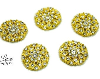 Gold or Silver Rhinestone Embellishments 23mm x 20mm with a Flat Back - Sets of 5, 10, or 50 - MR212 GOLD - MR212 SILVER