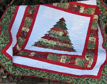 Scrappy Christmas Tree Lap Quilt - Table Topper - Wall Hanging - Quilted Sofa Throw
