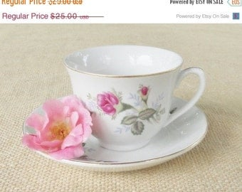 On Sale Vintage Shabby Chic/Cottage Style White Teacup and Saucer, Tea Party, Wedding