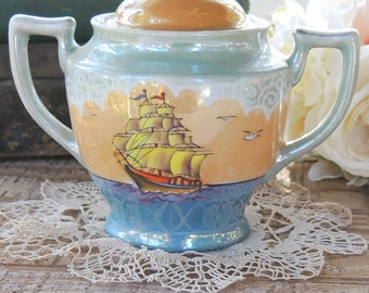 Vintage Japanese Lusterware Hand Painted Ginger or Cookie Jar, Tea Bag Canister