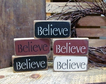 Believe Signs - Wooden set of 5 signs - Holiday Christmas Decor, Wood Sign Sayings, Word Signs
