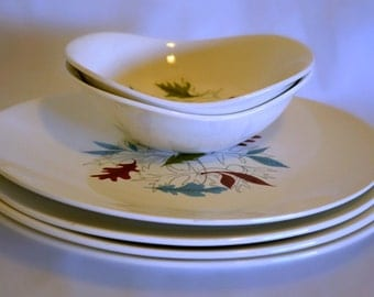 Mid Century Modern Dinnerware, Gridley England China, Modern Squared Plates & Bowls Featuring Autumn Leaf Pattern