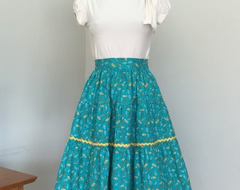 Vintage 50s Style Tiered Skirt with ricrac