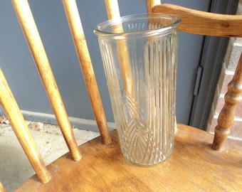 Clear glass vase/ art neuveux/Hoosier Glass Company/ribbed glass/vintage