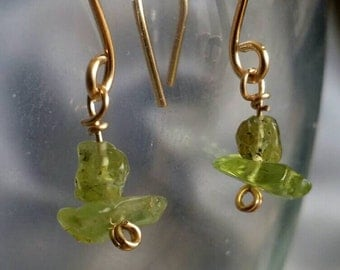 Peridot Earrings, Handcrafted Gold Fill earrings with genuine Peridot gemstones -- Sparkling Festive Green (#1392)