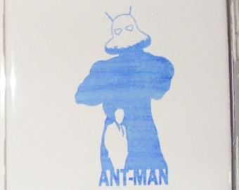 "Laser engraved 4.25"" x 4.25"" Square ceramic tile Antman for Coaster or Plaque"
