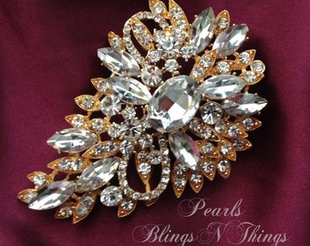 SALE Beautiful Ex-Large Crystal Pearl Rhinestone Brooch Brooches SILVER or GOLD Bridal Bouquet Wedding Dress Sash