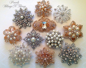 "6 pc  ""YOUR CHOICE""  Large Bridal Silver or Gold Metal Pearl Crystal Rhinestone Wedding Flat Back Brooch Bouquet"