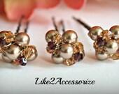 3 Set of  Bridal Hair Pin, Fall Weddeing, Bridal Hair Piece, Big Clustered Pearl Pin, Crystal Swarovski Pearl, Brown White Pearl Hair Clip