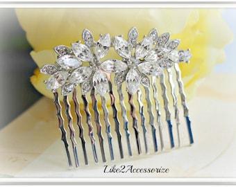 Bridal Rhinestone Hair Comb Bridesmaid Hair Comb Wedding Flower Hair Comb Bridal Hair Accessories Bridal Headpiece Bridal Vintage Hair Comb