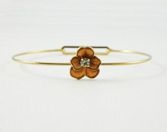Pansy Cuff Bracelet in Bronze- BR008a