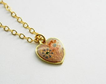 Tiny Floral Heart Charm Necklace