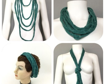 Green Cotton Cowl Infinity Scarf Necklace Headband French Knit Multifunctional Accessory Knitted I Cord Stocking Stuffer Gift for Her