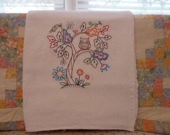 Owl in a tree Flour Sack Dish Towel