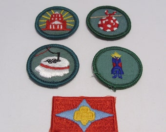Group of Four Junior Girl Scout Badges and Sign of the Star Patch Circa 1960's to 1970's  Group #2