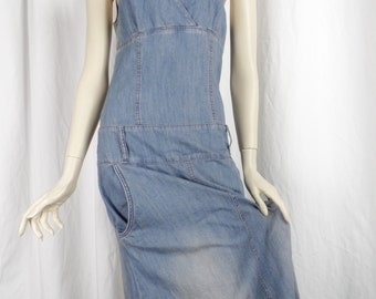 70s vintage boho faded denim and macrame +beaded strappy maxi dress/ brass rings and balloon bottom/music fest chic: size US 6-8