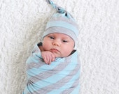 Baby boy hat. Blue/gray stripes. Soft stretchy knit fabric. Knot top style. Size newborn/ XS   (Made by lippybrand.)