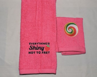 Pink Kaylee's Parasol Embroidered Hand Towel Set Everything's shiny  Firefly Serenity RTS
