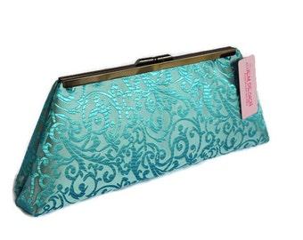 Turquoise wedding clutch purse  Bridesmaid gift clutch idea, bridal accessory/Blue wedding purse/ evening clutch purse ,turquoise party  bag