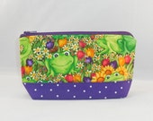 Green and Purple Fabric Zipper Pouch Made With Frog Inspired Fabric