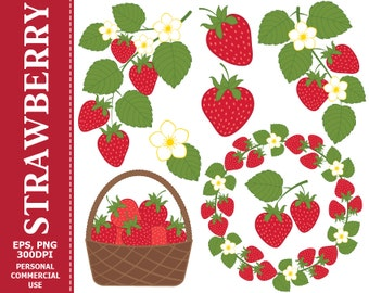 BUY 1 GET 1 FREE - Digital Strawberry Clip Art - Leaves, Branch, Flower, Wreath, Berry, Strawberry Clip art. Commercial and Personal use
