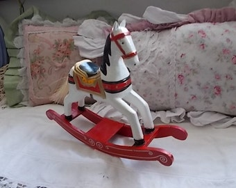 Small Wooden Rocking Horse , Vintage Home Decor, wood rocking horse decor, S