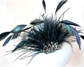 Black Feather Fascinator, Black Feather Hair Clip, Evening Hair Clip, Evening Fascinator, Black Evening Hair Clip, Evening Hair Accessories