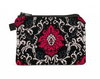 Change wallet, coin purse, padded zippered card case - maroon red and black damask