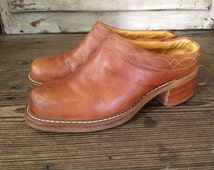 Frye Leather Clogs Shoe Boots Mules Size Sienna Brown