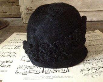 French Cloche Hat Black Mohair and Astrakhan 1920s Downton Abbey Style