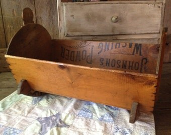 Reserved for Chen 2 Soap Box Baby Cradle Folk Art Primitive Wood Antique Handmade Doll Cradle Wisconsin, USA