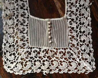 Antique Victorian Lace Collar Dress Accessory Tuxedo Style