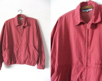 Sun Bleached Red Harrington Jacket - 90s Ivy League Slouchy Fit Minimalist Chic Coaches Jacket