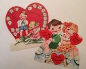 Valentines Girl & Boy / set 2 Vintage Valentines 1950's Used by A-Meri-Card